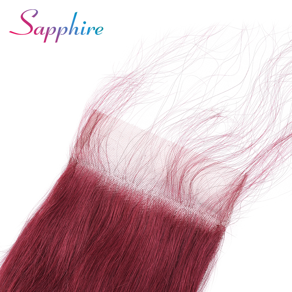Sapphire Brazilian Body Wave Human Virgin Hair Closure Remy Human Hair  4*4 Lace Closure Dark Red Color Free/Middle/Three Part