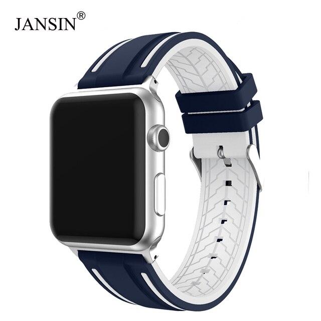 Banda deportiva para apple watch series 4 3 2 1 correa para iWatch adaptador de banda de repuesto de silicona suave 38mm 40mm 42mm 44mm