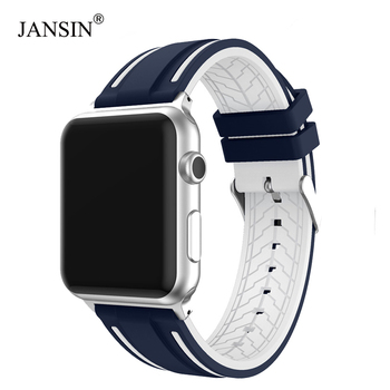 JANSIN Sport band for apple watch series 4 3 2 1 strap for iWatch  Soft Silicone Replacement band adapter 38mm 40mm 42mm 44mm