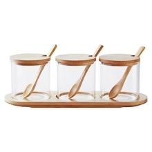 Горячий стеклянный приправа ящик для банки сахарница ароматизатор банка многофункциональная приправа коробка с бамбуковая ложка и полка