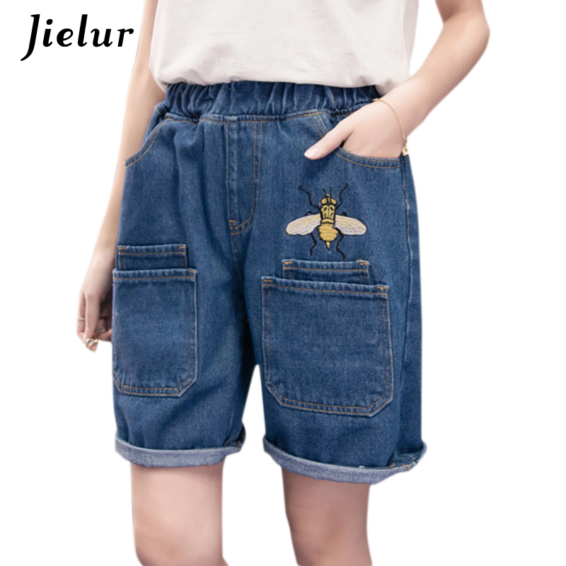 Jielur Plus Size Summer Blue White Black Women's Shorts Bee Embroidery Pockets Loose Shorts Casual Cute Crimping   Jeans   S-5XL