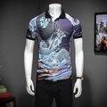 2017 новое лето Англии стиль Дракон печатных POLO shirts men бизнес повседневная slim fit напечатаны POLO для мужчин размер М-3XL