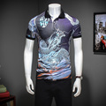 2017 nuevo verano del estilo de inglaterra del dragón impreso polo camisas de los hombres business casual slim fit impreso polo shirts para hombre talla M-3XL