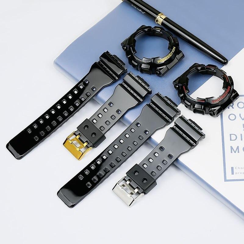 Men's Strap Accessories Resin Strap For Casio GA-110GB GA-100 GD-100 GD-120 GD-110 GA-120 Glossy Black Gold Black