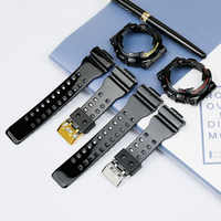 Men S Strap Accessories Resin Strap For Casio Ga 110gb Ga 100 Gd 100 Gd 120 Gd 110 Ga 120 Glossy Black Gold Black