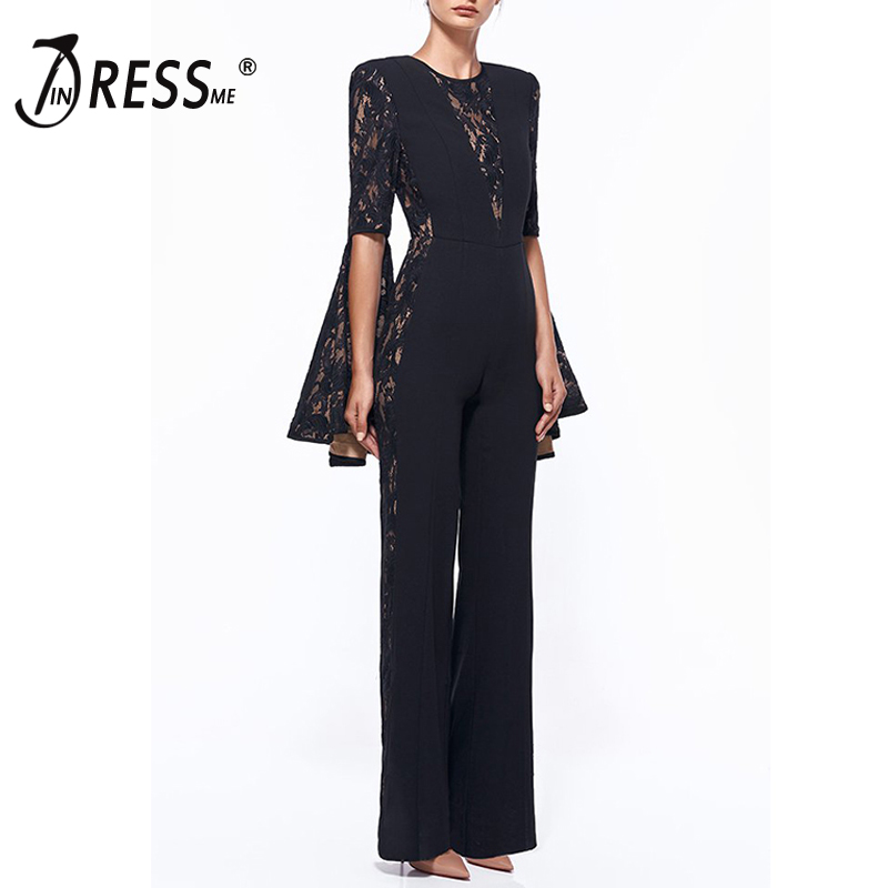 INDRESSME Sexy Lace Hollow Out O Neck Bodycon Women   Jumpsuits   Fashion Solid Full Sleeve Flare Split Full Length   Jumpsuits   2019