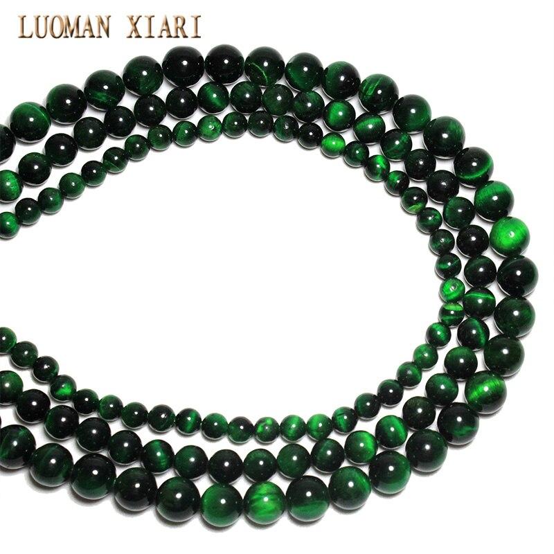 82ffff88ff14 Aliexpress.com  Comprar Mayor grado superior verde Natural Ojo de Tigre  gema Semi piedra perlas para joyería hacer DIY pulsera collar 6 8  10mm  Strand 15   ...