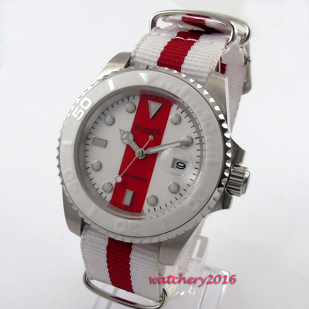 40mm Bliger Red & White Dial Date window Nylon strap Sapphire Glass ceramic bezel Luminous Hand Automatic Mechanical men's Watch