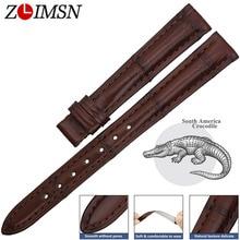 ZLIMSN 원래 품질 정품 악어 가죽 시계 밴드 오메가 14 24mmStrap 밴드 팔찌 시계 밴드