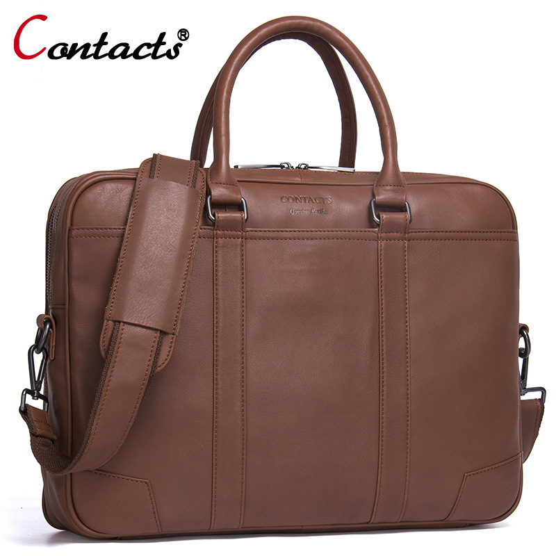 CONTACT'S Genuine Leather bag Business Men bags Laptop Tote Briefcases Crossbody bags Shoulder Handbag Men's Messenger Bag New lacus jerry genuine cowhide leather men bag crossbody bags men s travel shoulder messenger bag tote laptop briefcases handbags