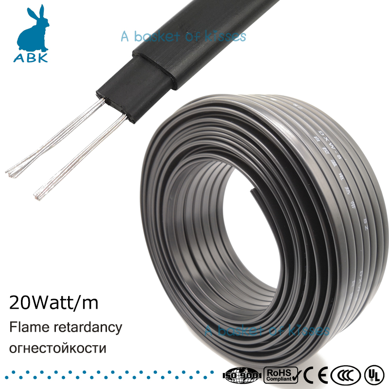 8mm 220V type Flame retardancy heating belt Self-limiting temperature water pipe protection roof deicing heating cable  все цены