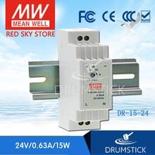 Sabit ortalama kuyu DR-15-24 24V 0.63A meanwell DR-15 15.2W tek çıkışlı endüstriyel DIN ray güç kaynağı