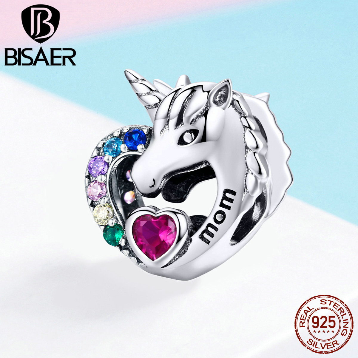 BISAER 925 Sterling Silver Licorne Unicorn Beads Pure Love Animal Love Heart Charms Fit Mom Bracelets Silver Jewelry ECC1160