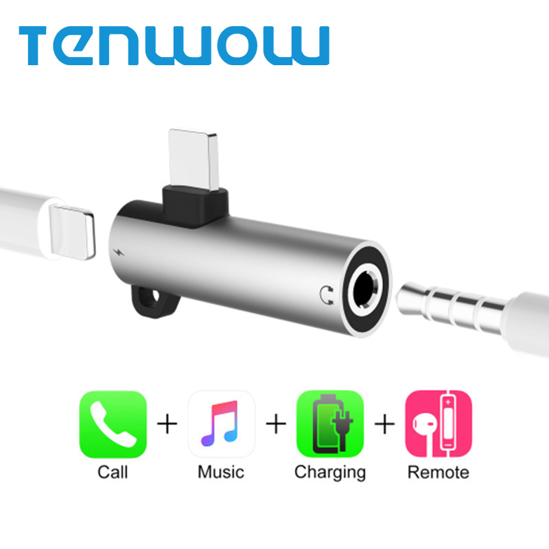 Phone Adapter otg for Lightning to 3.5mm Jack Headphone Adapter Charge Aux Audio Splitter for iPhone X 8 7 for iPhone Adapter