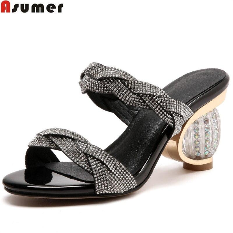 ASUMER 2020 moda de verano nuevos zapatos de mujer talla grande 33 43 zapatos de mulas informales de diamantes de imitación elegantes zapatillas de Graduación zapatos-in Zapatillas from zapatos    1