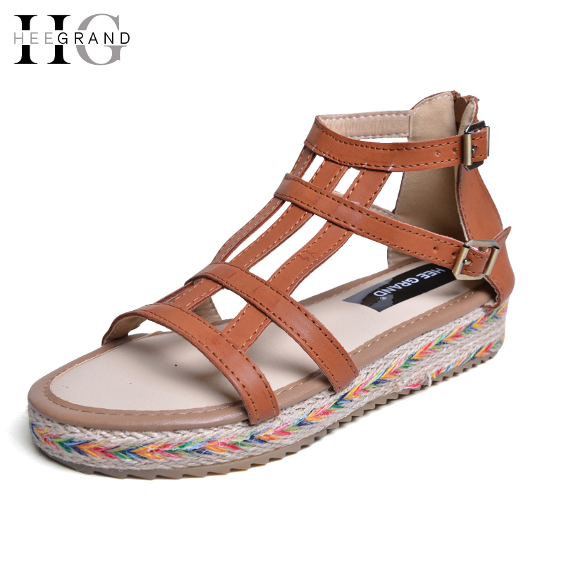 HEE GRAND Summer Style Gladiator Sandals Platform Shoes Woman Slip On Creepers Flats Casual Women Shoes Size 35-44 XWZ2835 phyanic 2017 gladiator sandals gold silver shoes woman summer platform wedges glitters creepers casual women shoes phy3323