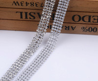 Promotion 2mm 4rows 1cmwidth Crystal Clear Stones Silver Hot Fix Rhinestone Mesh Trimming Aluminium Base Pasted