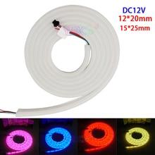 5m DC12V 12*20m/15*25mm full color Arcuate neon tube 60leds/m GS1903 IC Flexible strip digital 5050 RGB pixel LED neon light