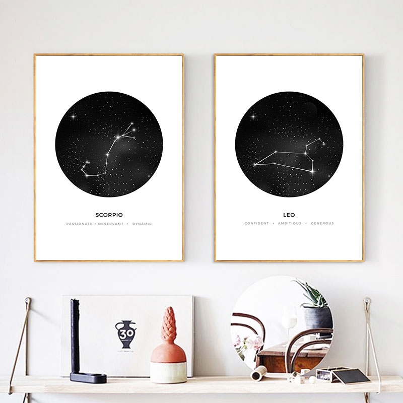 Modular Canvas Poster Sign Paintings Pictures Geometric Wall-Art Astrology Constellation