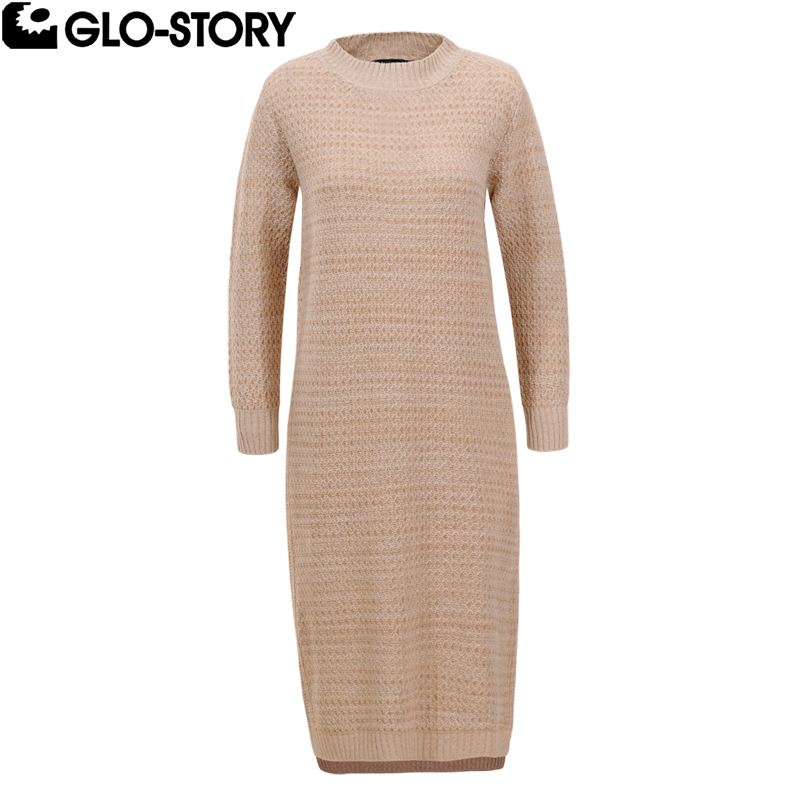 GLO-STORY Women Casual Stand Collar Autumn Sweater Dresses Female Knitted Knee-Length Dress WMY-5637