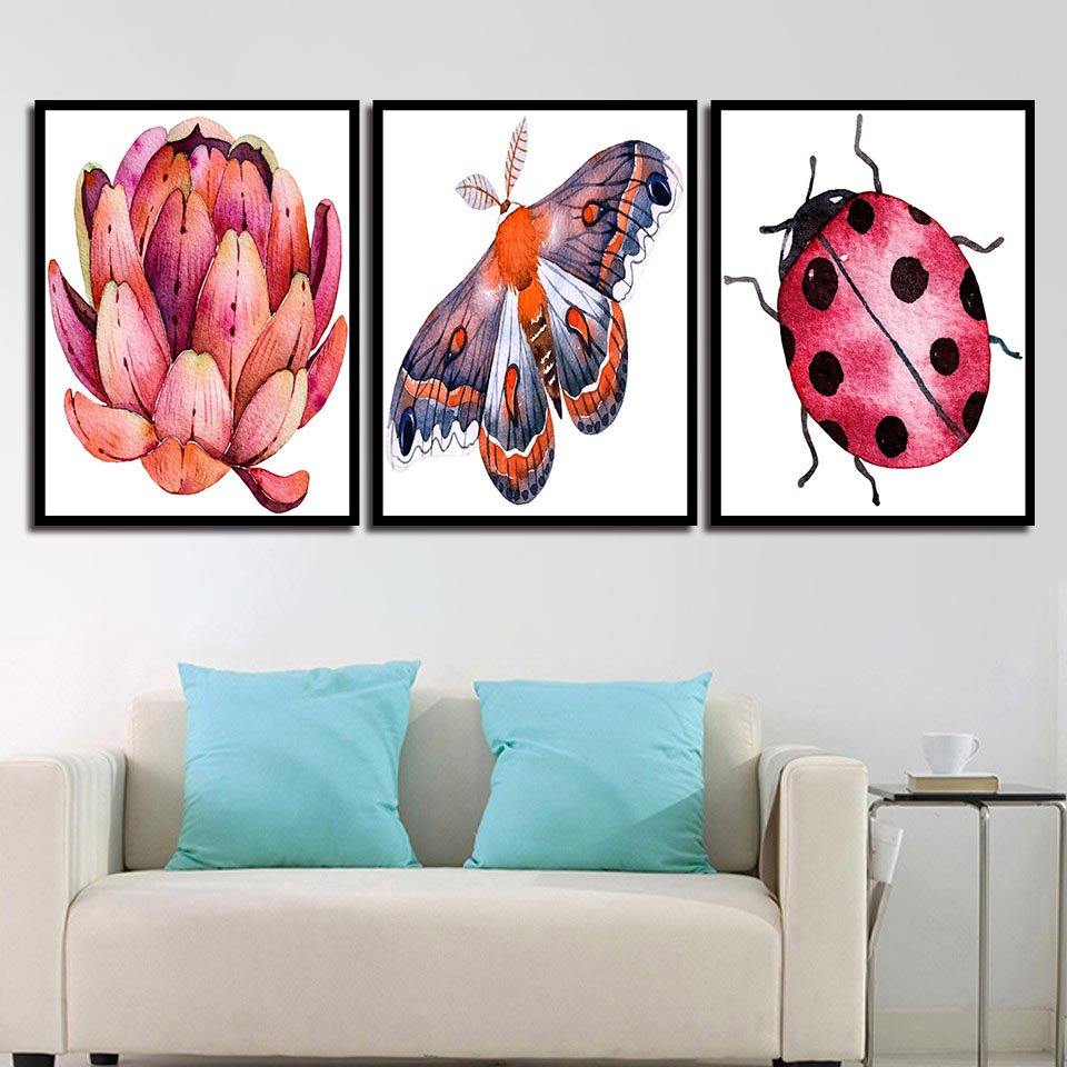 Modern Animal Seven-spot Ladybug And Lotus Canvas Painting Print Poster Picture Home Wall Art Decoration Can Be Customized