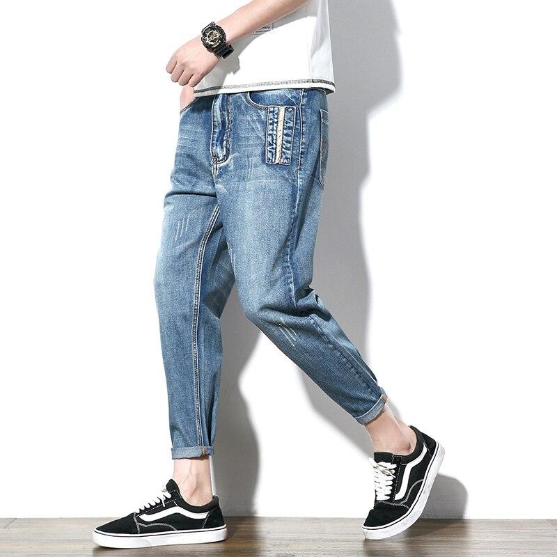 2018 Mens Fashion Trend Casual Loose Blue Cowboy Haren Pants Wash Classic Stretch Slim Fit Jeans Denim Large Size Trousers28-40