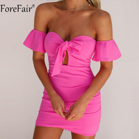 ForeFair Frauen Reizvolles Trägerloses Bogen Mini Sommer Kleid Schwarz Weiß Rot Rose Rüschen Hülse Kreuz Geraffte Bodycon Club Party Kleid