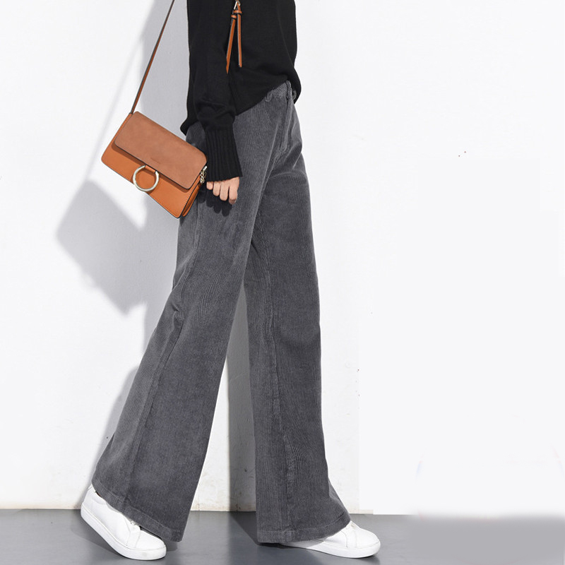 Spring and autumn casual winter new corduroy   wide     leg     pants   women's thick high waist straight   pants   fashion retro trousers