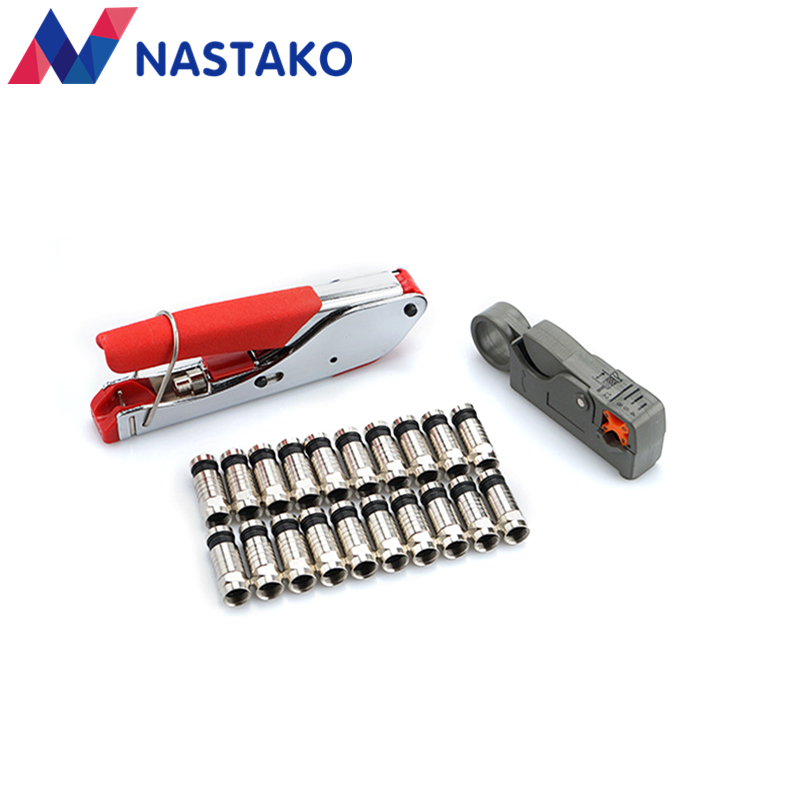 NASTAKO F-Type Coaxial Compression Connector F Terminals Wire Stripper Tool RG6 RG59 for Coax Cable Crimper Tools