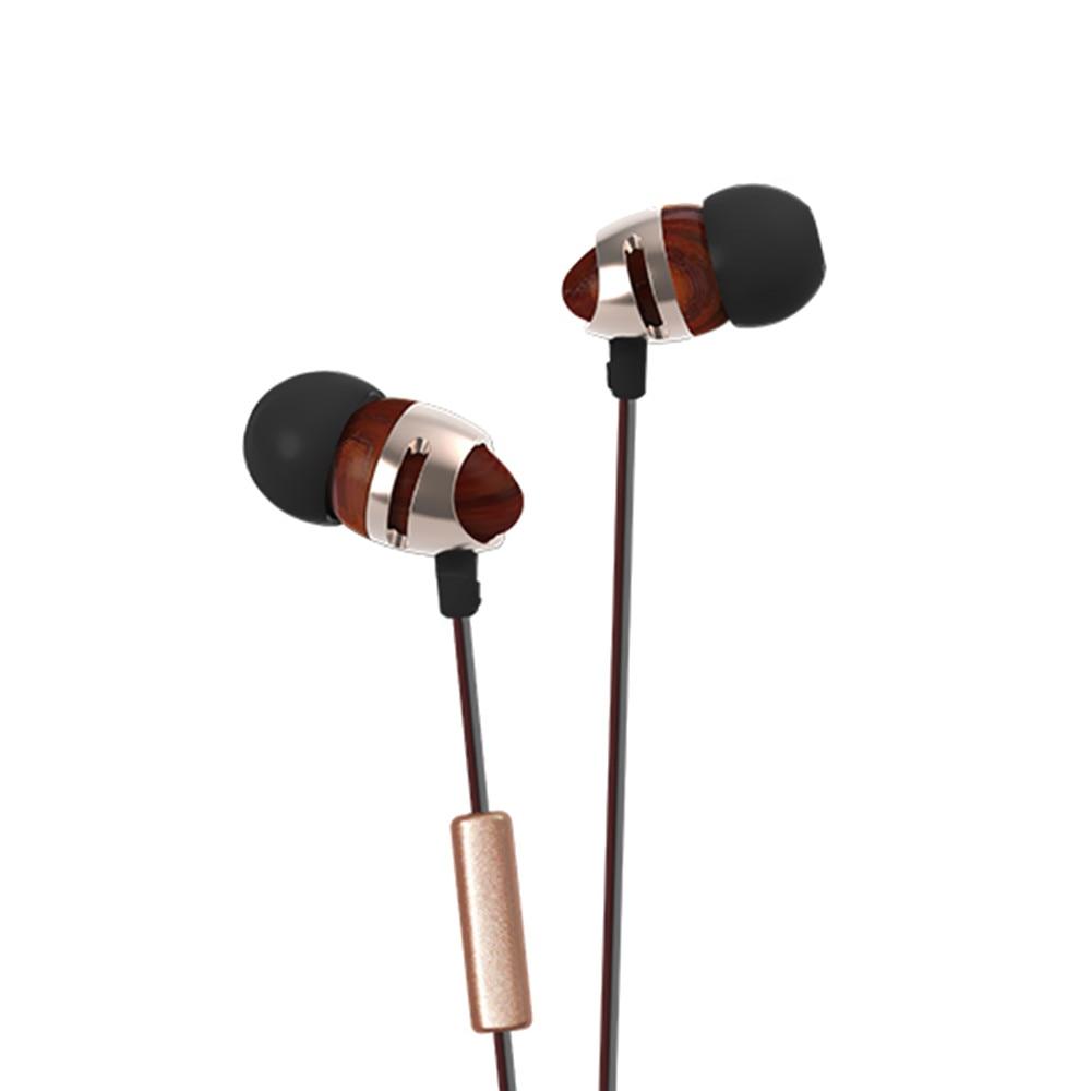 New Arrival inshed IC210 In Ear Earphone Wooden earphone Earbuds HIFI DIY Subwoofer Wooden Earphone with Microphone