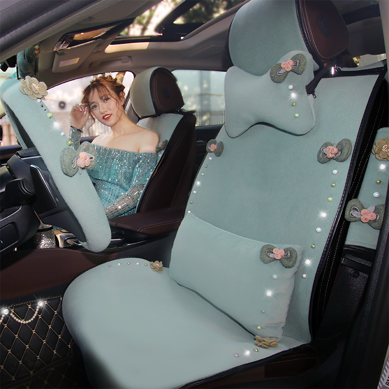 Diamond Pearl Plush Universal Car Seat Cover Mat Seat Cushion Velvet Rhinestones Crystal Bow Green Auto Seat Covers Girls Women