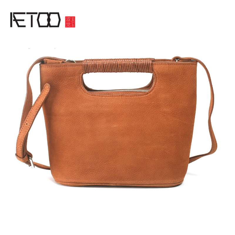 AETOO Retro national wind shell shoulder bag arts and culture Sen Department of handbag scrub leather leather baby head layer of shell of the elderly national policy of older people india