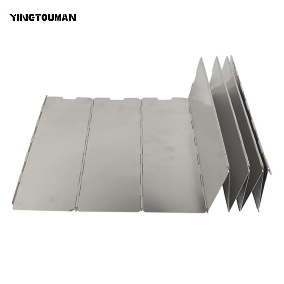 YINGTOUMAN 10 Pcs Aluminium Alloy Wind Deflectors Foldable Outdoor Camping Cooking Gas Stove Wind Shield Screens Windshield