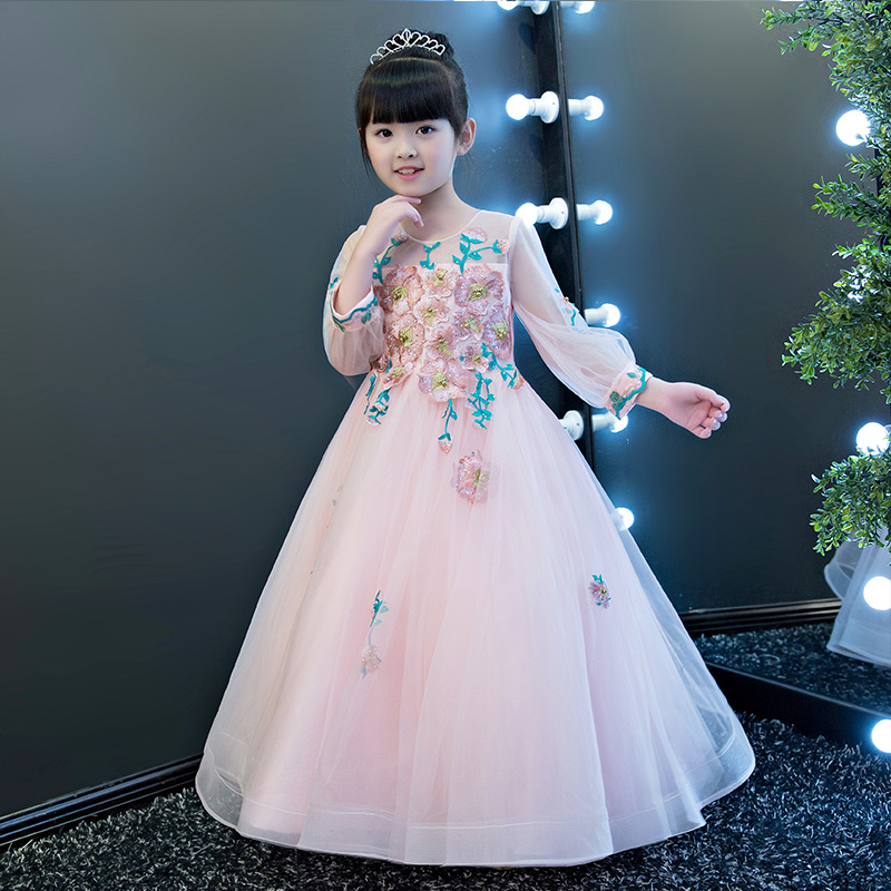European American Style Elegant Luxury Children Girls Pink Embroidery Flowers Princess Wedding Birthday Long Dress Pageant Dress new european luxury children girls embroidery flowers long train princess dress for birthday wedding party kids pageant dress