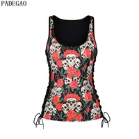PADEGAO floral printing skull tanks U collar lace up punk tops women halloween gothic tops&tees rose casual party tanks camisole