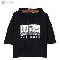 Qlychee Harajuku Style Women Hoodie T Shirt Japan Anime Mask Girl Japanese Print T Shirt Half