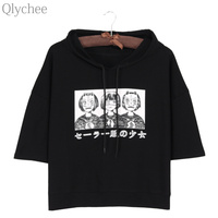 Qlychee Harajuku Style Women Hoodie T Shirt Japan Anime Mask Girl Japanese Print T Shirt Half