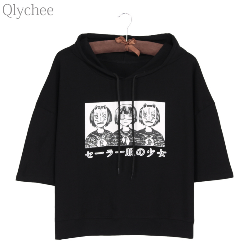 Qlychee Harajuku Style Women Hoodie T-shirt Japan Anime Mask Girl Japanese Print T shirt Half Sleeve Casual Loose Top Tee sexy slim t shirt women off shoulder cropped top harajuku flower print shirt top bandage long sleeve tee flare sleeve t shirt