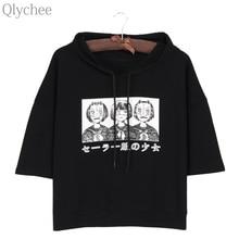 Qlychee Harajuku Style Women Hoodie T-shirt Japan Anime Mask Girl Japanese Print T shirt Half Sleeve Casual Loose Top Tee