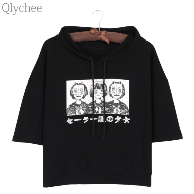 Qlychee Harajuku Style Women Hoodie T-shirt Japan Anime Mask Girl Japanese Print T shirt Half Sleeve Casual Loose Top Tee