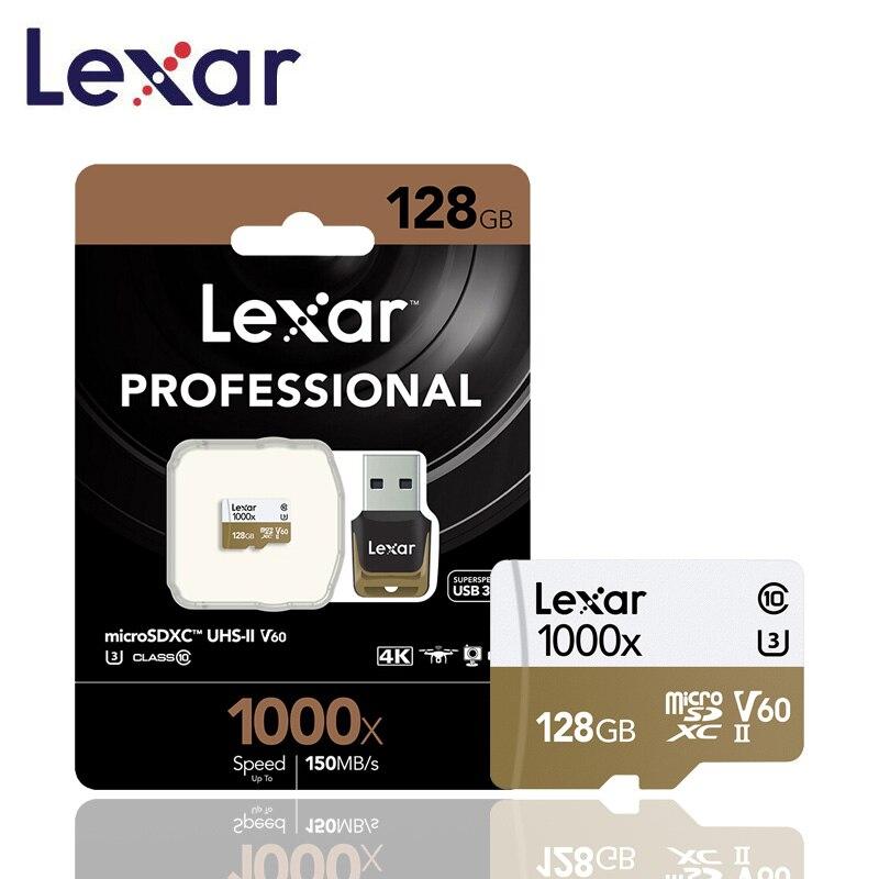 Оригинальный Lexar карты Micro SD карты 128 ГБ UHS II U3 Max 150 МБ/с. автомобиль TF карты флэш памяти класса 10 для беспилотная спортивная видеокамера-in Карты памяти from Компьютер и офис