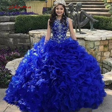 Luxury Quinceanera Dresses Ball Gown Crystals Beaded Royal Blue Prom Debutante S