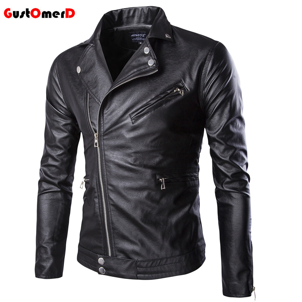 GustOmerD 2016 High Quality Motorcycle Oblique Zipper Leather Jacket Men Slim Fit Mens Leather Jacket Asian