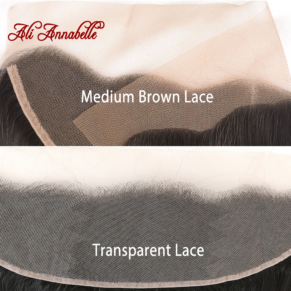 ALI ANNABELLE HAIR Brazilain Loose Wave 13*4 Lace Frontal Remy Human Hair Transparent Lace Frontal/Medium Brown 130% 10