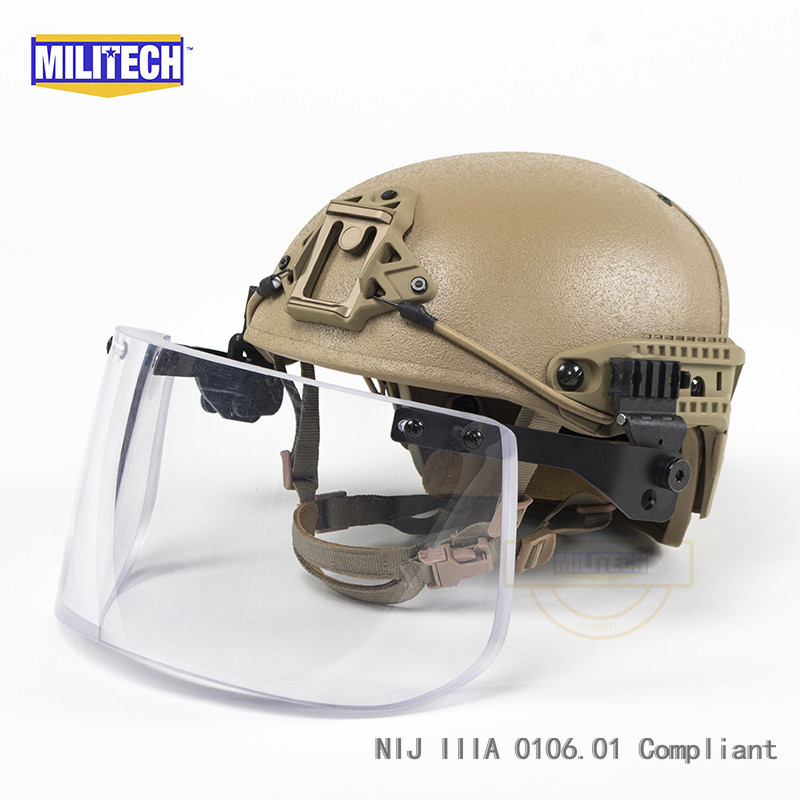 Coyote Brown CB Airframe CP Air Frame Vented NIJ IIIA 3A Bulletproof Helmet Visor Set Deal Ballistic Helmet Shield Bullet Proof