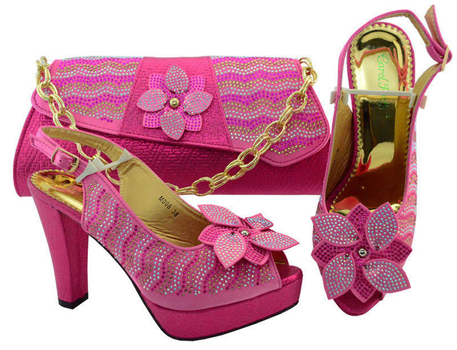 Italian Matching Shoe and Bag Set Fuchsia Pink Color Heels Decorated with  Flower Women Pumps African Wedding Shoes and Bags b8b63f9e7ca2