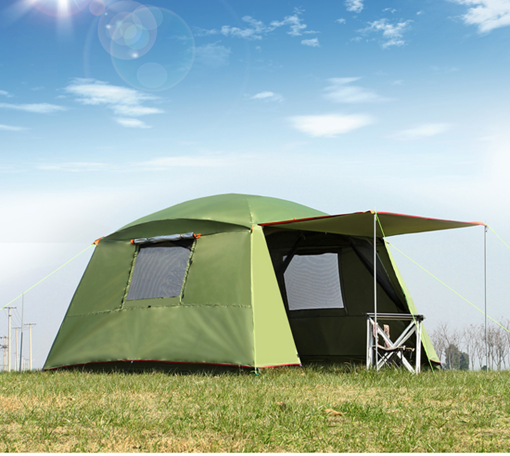 Ultralarge Double couche 5-8 personne Camping tente imperméable coupe-vent tente grand Gazebo famille Barraca