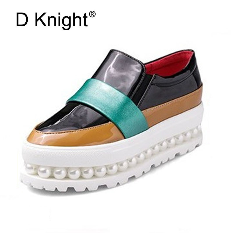 Women Loafers Fashion Color Block Patent Deep Mouth Slip-on Women Platform Shoes Ladies Casual String Bead Flat Shoes Size 34-43 new round toe slip on women loafers fashion bow patent leather women flat shoes ladies casual flats big size 34 43 women oxfords