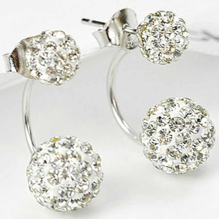 New Thời Trang Shambhala Đôi Hai Mặt Sythetic Pha Lê Bóng Stud Earrings đối với Phụ Nữ Cưới Trang Sức Quà Tặng Bán Buôn