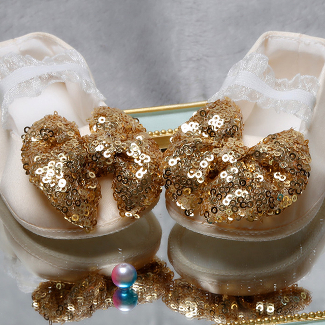 Baby Girls First Walkers Shoes Toddler Shining Sequin Bow-knot Decoration Shoes Infant Newborn Soft Bottom Girls Boys Shoes